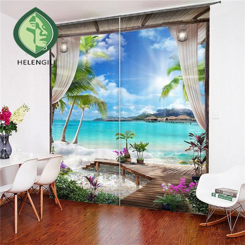100% Kwaliteit Helengili 3d Gordijn Landschap Print Voor Woonkamer Beddengoed Thuis Decor Tapijt Muur Tapijt Gordijnen Cotinas # Cs-1