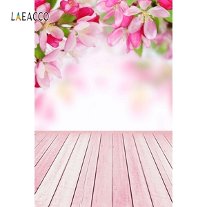 Image 2 - Laeacco Flowers Bokeh Wooden Floor Spring Backdrops Baby Newborn Portrait Photography Backgrounds Photophone Photocall Photozone