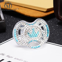 MIYOCAR beautiful blue rhinestone with crown style bling Pacifier/ Nipples /Dummy /cocka /chupeta baby gift for shower