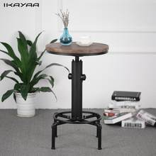 iKayaa Pinewood Top Round Pub Bar Table Height Adjustable Swivel Counter Table Industrial Pipe Style Table US FR DE Stock(China)
