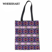 цены WHEREISART Wholesale Large Reusable Grocery Women Tote Bag Eco Big Foldable Shopping Bags Beige Canvas Cotton Eco bag Volta