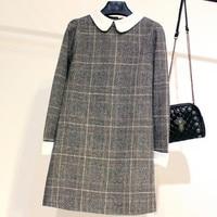 plus size 4XL winter bottoming woolen dress long sleeved peter pan collar loose a line plaid dress
