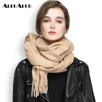 Aleualuu бренд 100% кашемировый шарф Для женщин шелковый шарф отличного качества мягкие шали осень-зима длинный толстый Шарфы для женщин aeu028