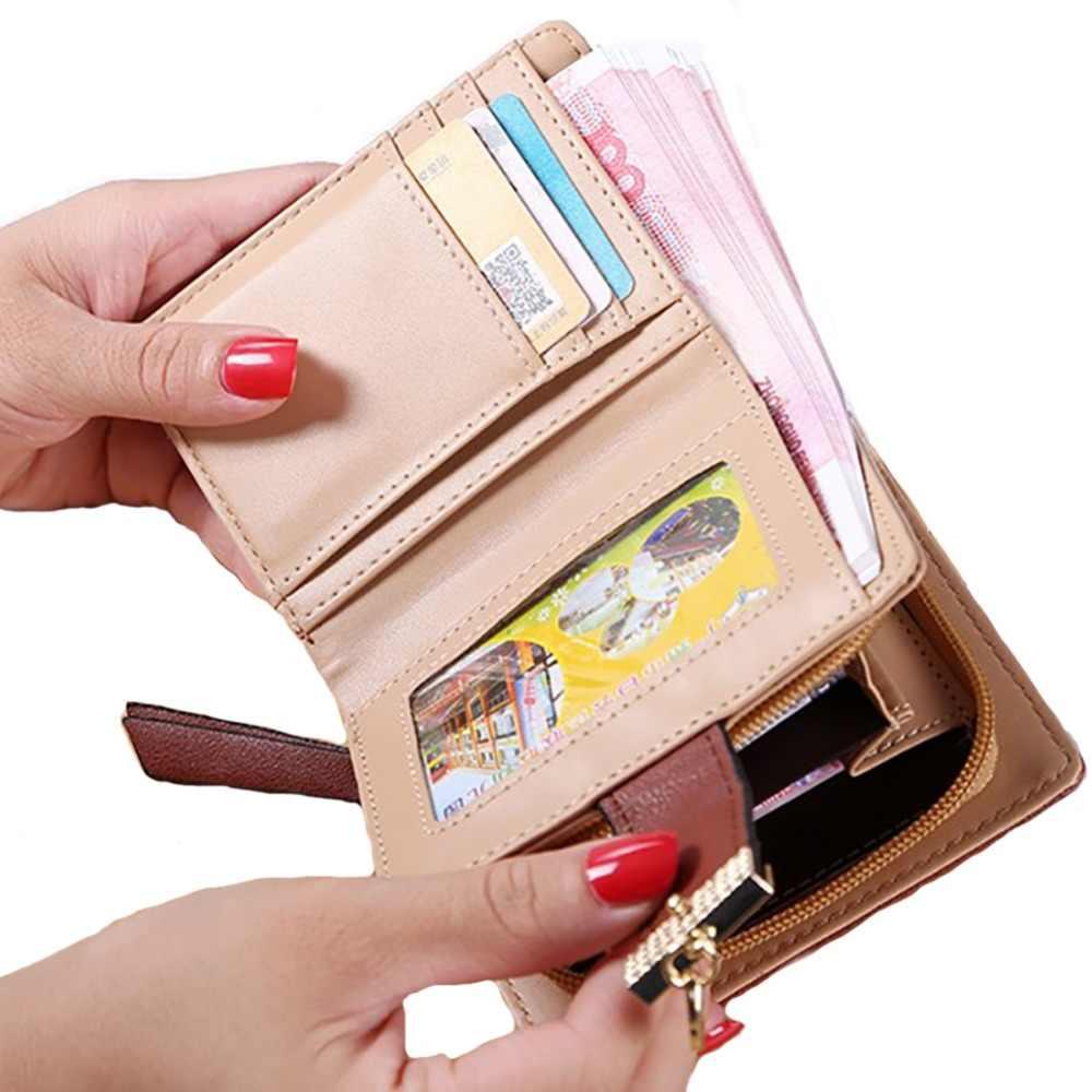 PinShang Горячие Для женщин маленькие кошельки женские лист кулон Полые Короткие Кошелек из искусственной кожи молния монета карман сумки подарок ZK30
