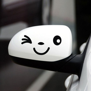 Image 3 - Sliverysea 2 쌍 반사 귀여운 만화 미소 자동차 스티커 백미러 눈 얼굴 스티커 자동차 스타일링 데칼