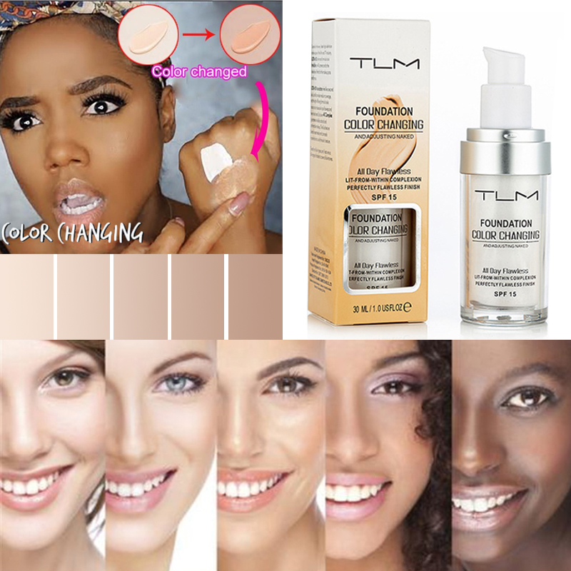 30ml TLM Color Changing Liquid Foundation Makeup Change To Your Skin Tone By Just Blending Face Makeup SPF 15 image