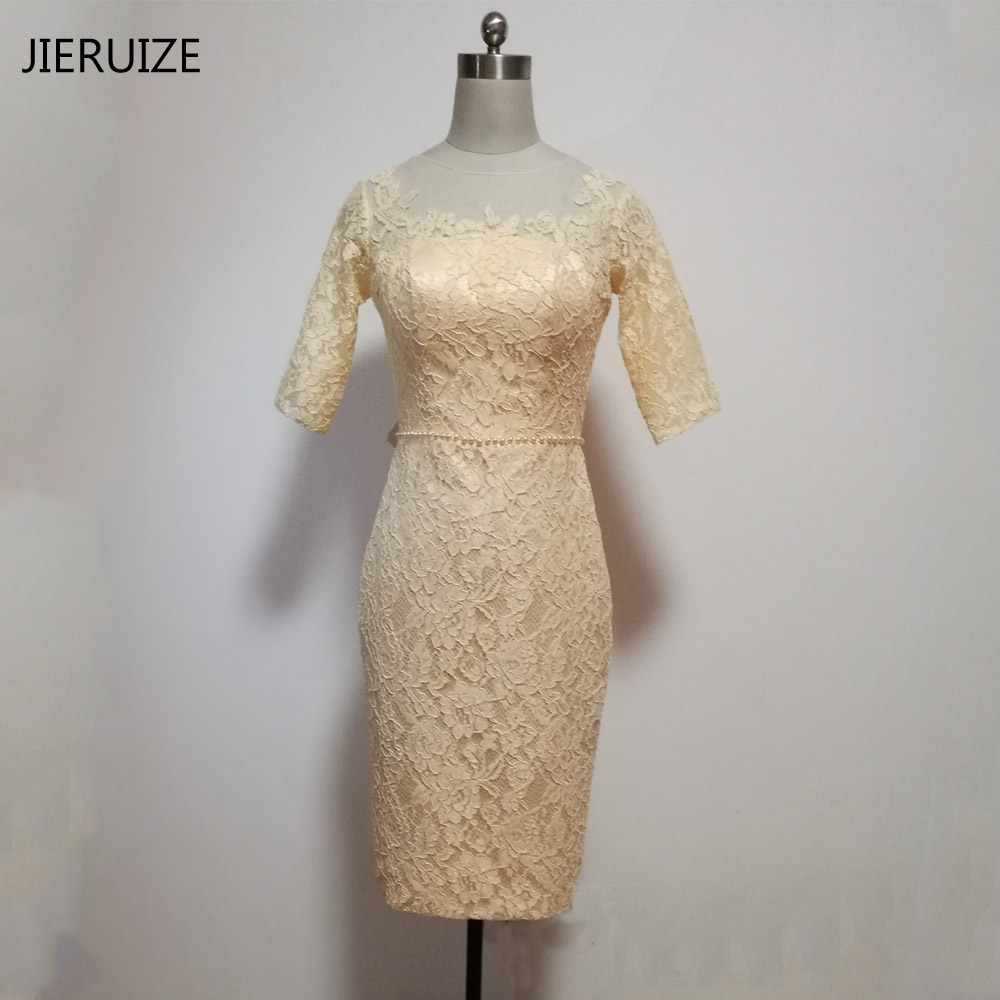 Jieruize champagne lace knee length mother of the bride for Knee length wedding dresses with sleeves