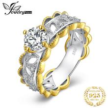 JewelryPalace Engagement Ring Women 925 Sterling Silver Golden 1.9ct Cubic Zirconia Anniverary Promise Wedding Brand Rings