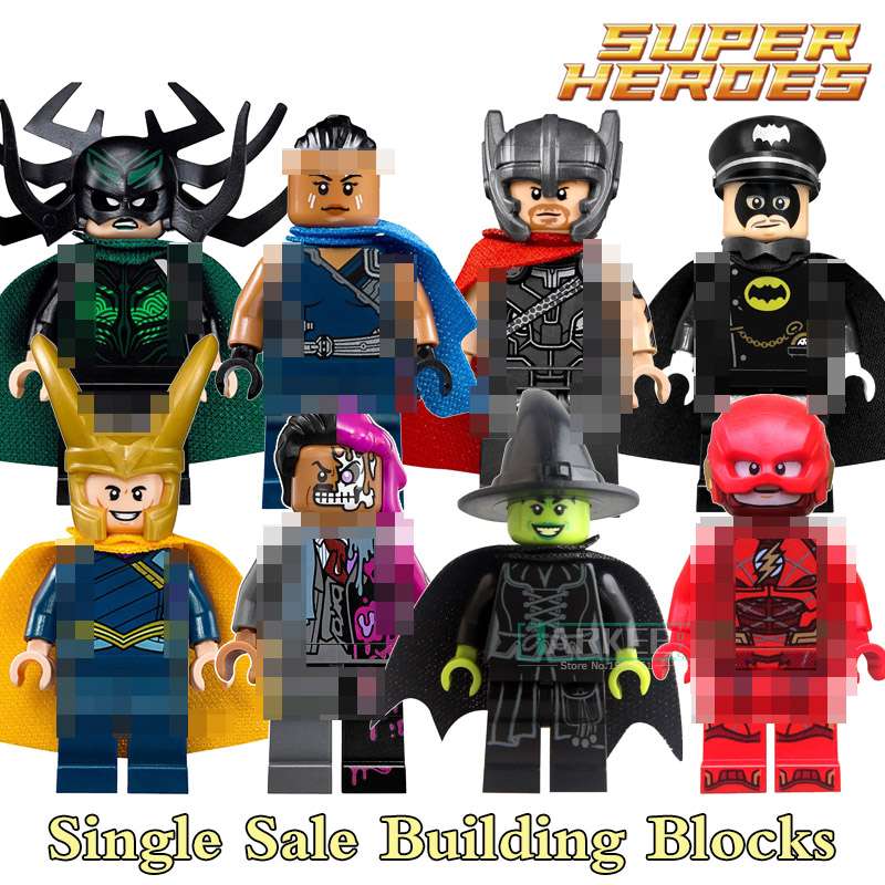 Building Blocks Two-Face Flash Loki Hela Valkyrie Thor Super Hero Star Wars Action Bricks Kids DIY Toys Hobbies PG8064 Figures loz mini blocks batman robin ironman thor loki harley quinn poison mini super hero bricks diy building blocks toys gift