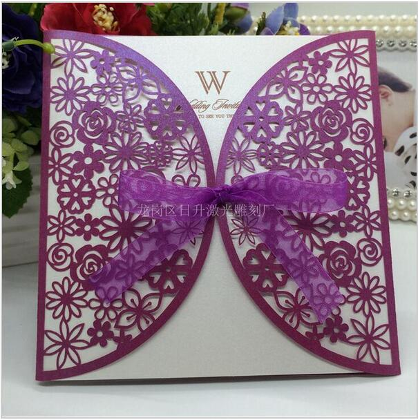 New Arrival 10Pcs Delicate Carved Flowers Romantic White Gold Purple Laser  Cut Hollow Wedding Party Invitation