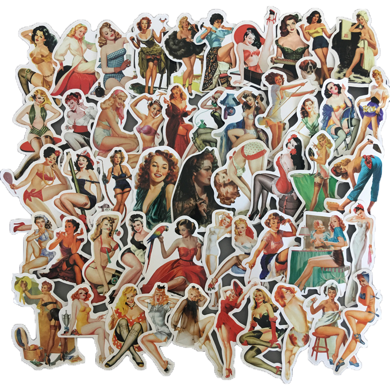 50Pcs/set Retro Sexy Beauty Girls Stickers For Laptop Car Scrapbooking Phone Motorcycle Luggage Decal Toys For Children PVC Gift