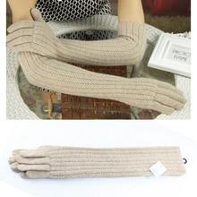 45 センチメートルロングウール手袋ミトン女性暖かい冬のニットファッション手袋ブラックブラウングレーレディース肘ブランド手袋 2019 新