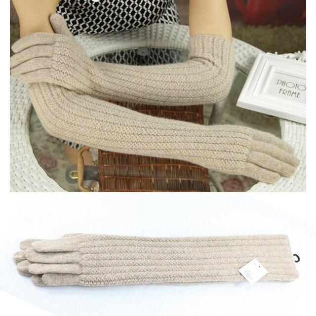 Guantes de lana de 45cm de largo para mujer, cálido tejido para invierno, modernos, negro, marrón, gris, codo, 2019