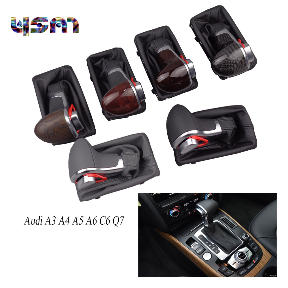 New Black Leather Chrome Gear Shift Knob AT Gaiter For Audi A3 A4 A5 A6 C6 Q7 4G1713139 4G1 713 139 4GD 713 139 4GD713139