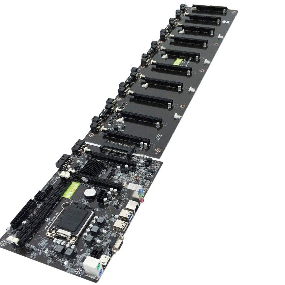 CPU LGA 1151 BLACK Mainboard Motherboard Intel B250 BTC DDR3 Sockets 12 x PCI E X16 Card SATA3.0 BTC Motherboard