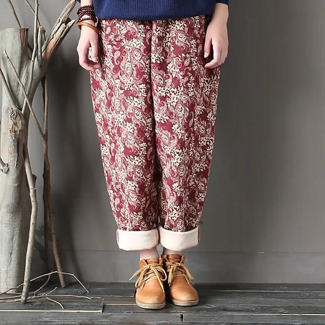 Johnature Women Thick Warm Pants Elastic Waist 2019 Winter New Print Floral Vintage Trouser Pockets Casual Women Pants