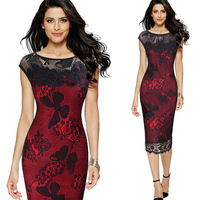 HANZANGL Womens Sexy Sequins Crochet Butterfly Lace Party Bodycon Dress brand fashion designer floral dress plus size S~5XL