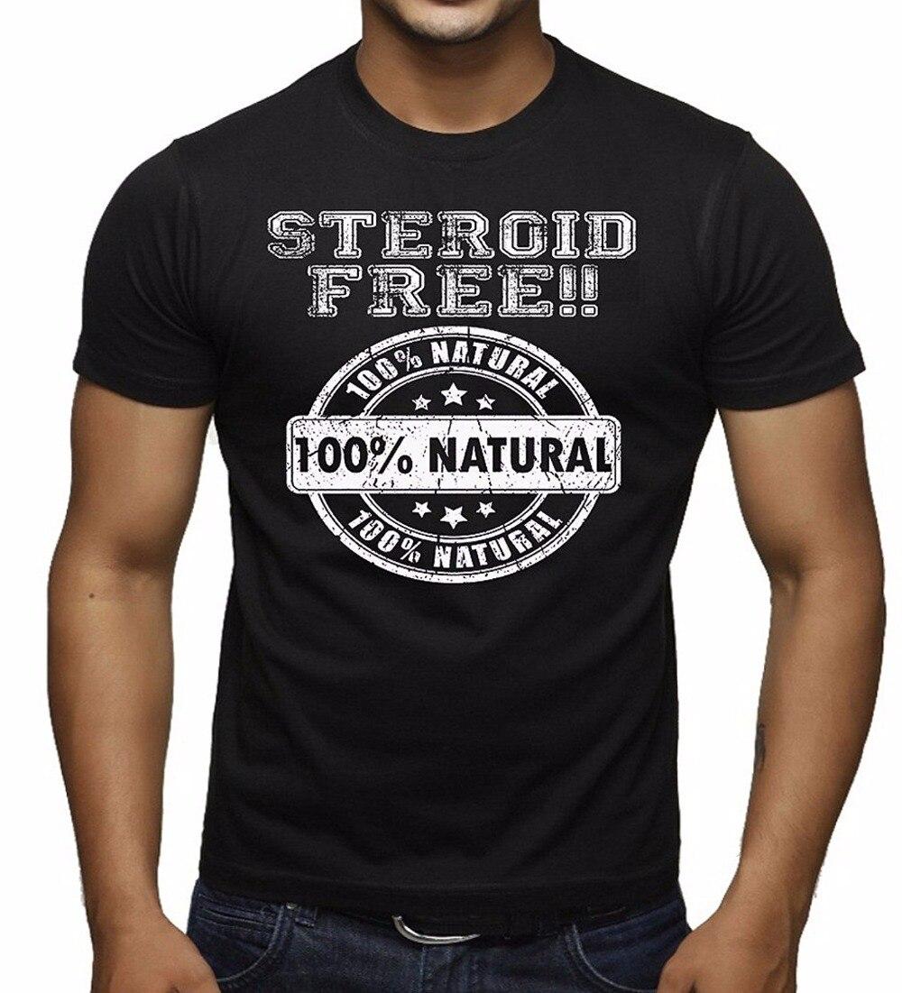 bad5eb39f2 Fazer Camisetas Online Novo Estilo 100% Natural Esteróide Livre T Shirt dos  homens Da Tripulação Pescoço Curto Luva T Dos Homens camisa em Camisetas de  Dos ...