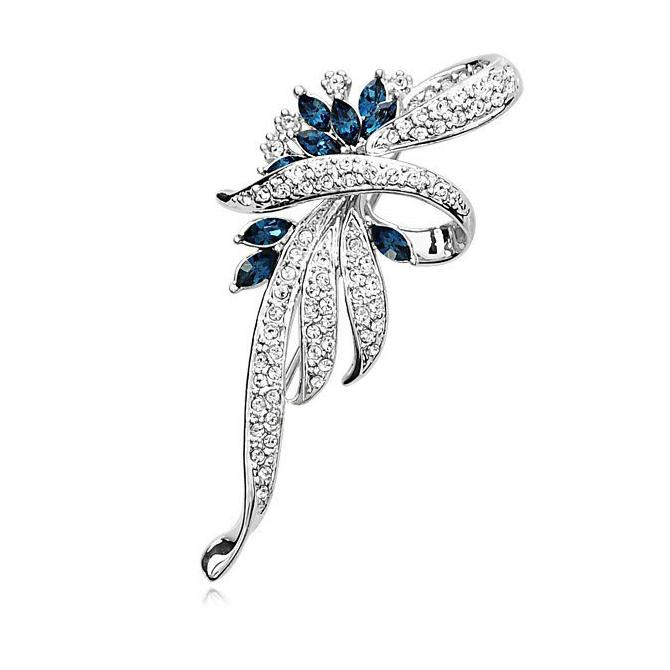 SHUANGR Luxury Crystal Flower Brooch Lapel Pin Rhinestone Jewelry Women Wedding Hijab Pins Large Brooches For Women brooches 8