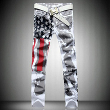 28-42 Big Size Hot Fashion Men's Casual Jeans Wholesale Personality Style White Flag Stamp Design Color Printing White Jeans