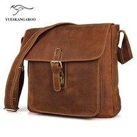 YUESKANGAROO Top Grade Men S Vintage Real Crazy Horse Leather Briefcase Messenger Shoulder Portfolio Laptop Bag