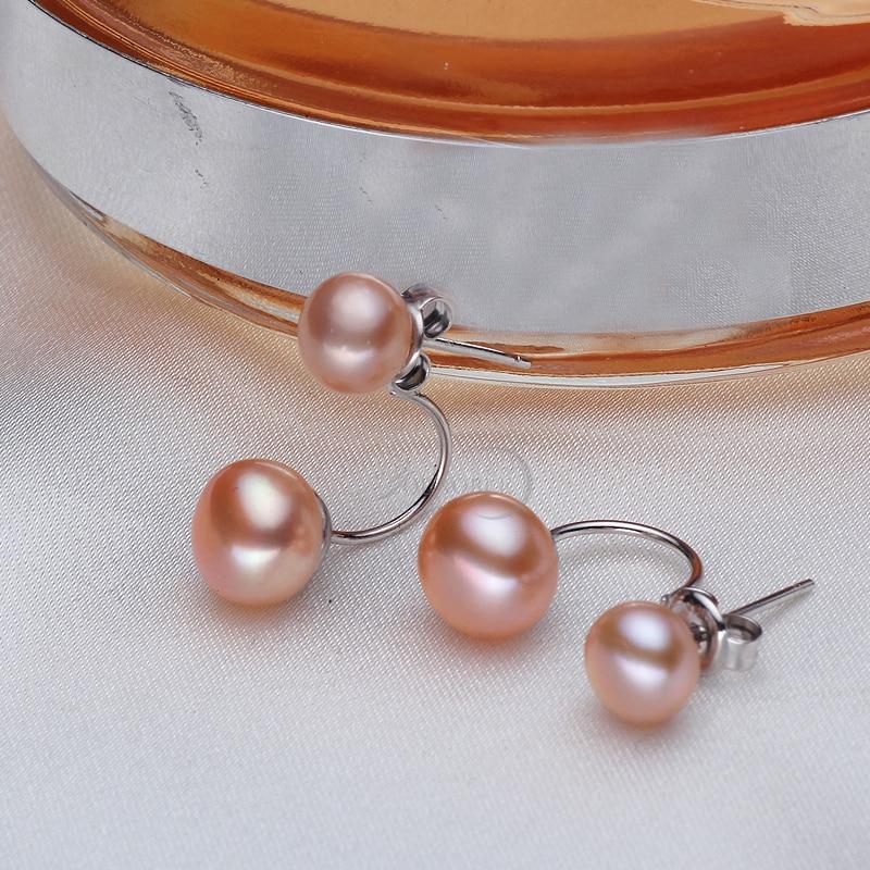 Echte natürliche Doppel Perle Ohrringe 925 Sterling Silber Schmuck, - Edlen Schmuck - Foto 5