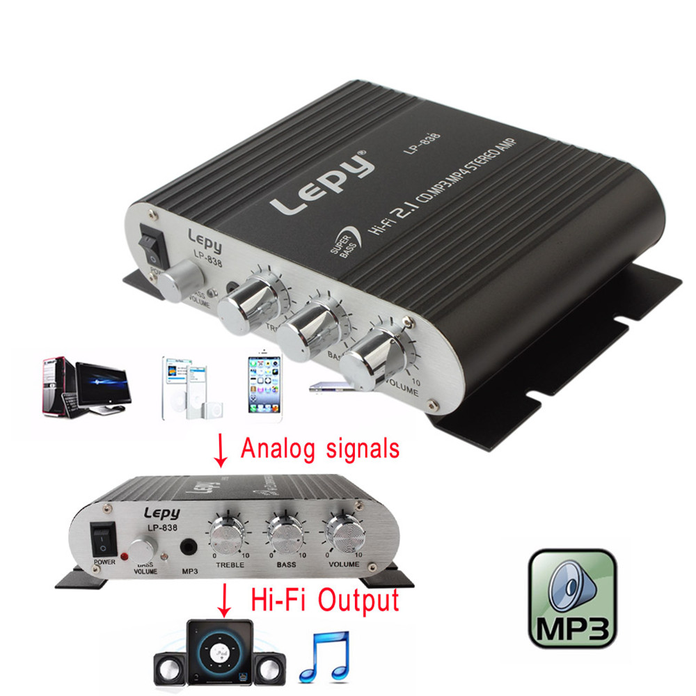 Low Distortion Black 12V Mini Hi-Fi Amplifier Booster Radio MP3 Stereo And Heavy Bass Output for Car Motorcycle Home