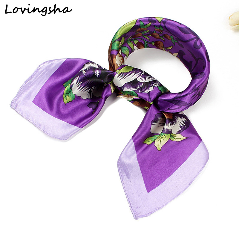 LOVINGSHA 60*60cm Ladies Silk   Scarf     Wraps   Floral Design Satin Square Europe Style   Scarf   Printed Women Imitated Silk   Scarf   CC023