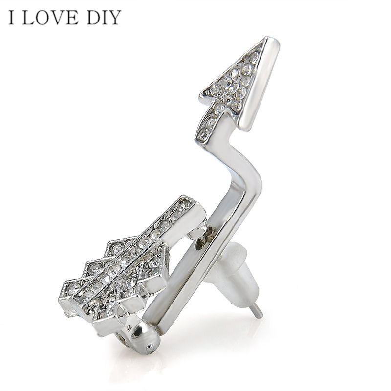 Fashion Women Creative Bow Cupid s Arrow Crystal Stud Earrings font b Jewelry b font Gift