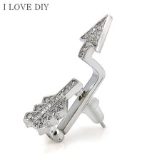 Fashion Women Creative Bow Cupid's Arrow Crystal Stud Earrings Jewelry Gift Fit Party