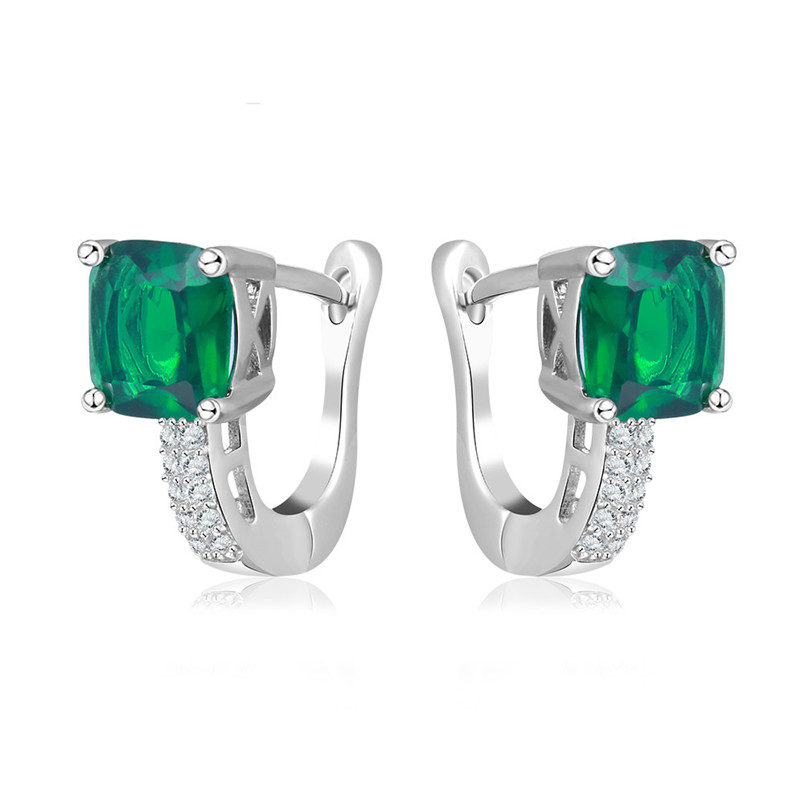 I&Zuan S925 Sterling Silver Fine Jewelry Clip Earrings For Women Geometric Green Stone W ...