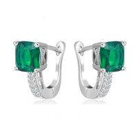 L & Zuan S925 стерлингового серебра ювелирные украшения, клипсы для Для женщин геометрический зеленый камень свадебные Мода серьги Aretes E129