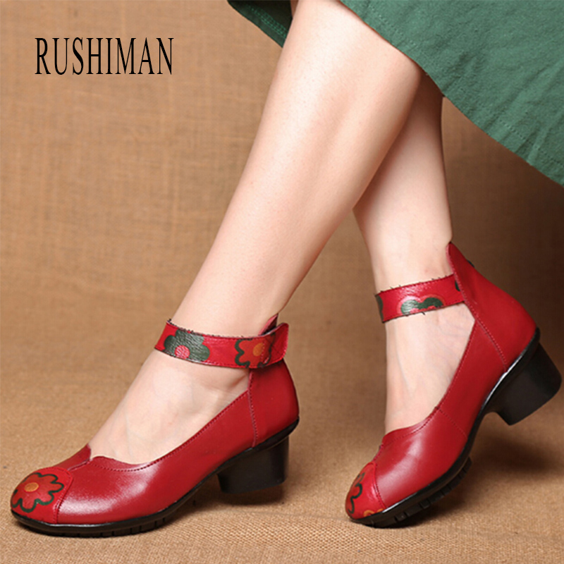RUSHIMAN Spring Summer Shoes Woman Genuine Leather Round Toe Sandals Casual Flats Women Shoes 2018 New Fashion Women Sandals summer shoes woman genuine leather soft outsole open toe sandals casual flat women shoes 2018 new fashion women sandals