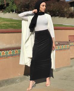 Image 5 - מוסלמי נשים חצאית Bodycon Slim למתוח ארוך מקסי גבוה מותן עיפרון שמלת נדן Bottoms האסלאמי קרסול אורך התיכון הערבי מזרח