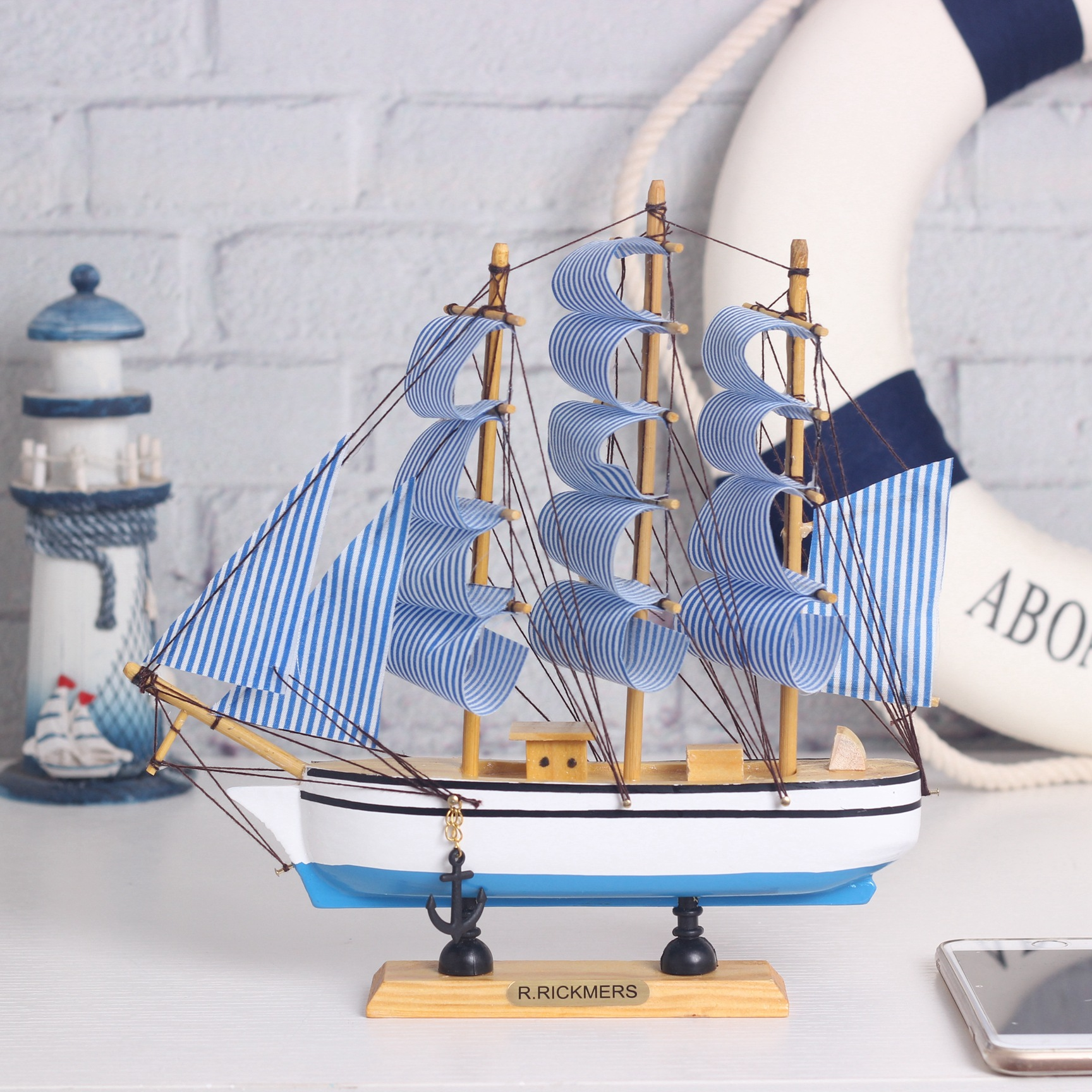 Wooden Ship Model Miniatur Marine Wood Maritime Boat Nautical