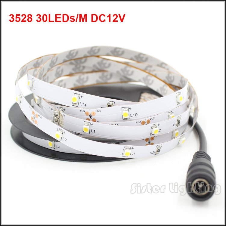 5Meter 2835 30LEDs/M 5Meter with 150LEDs W/WW/R/G/B/Y DC12V strip Free shipping
