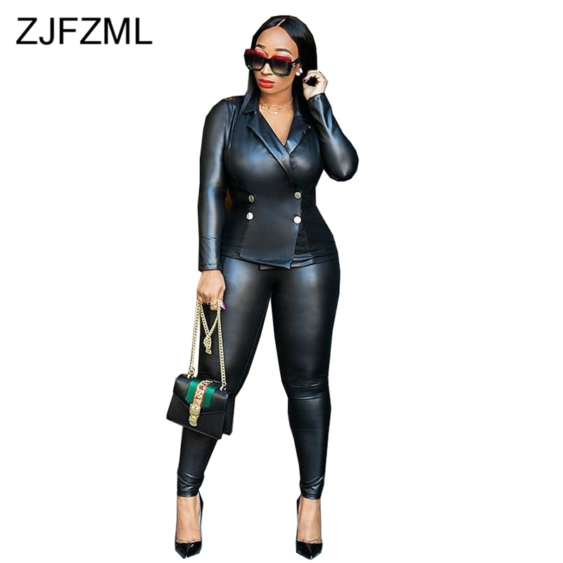 Black PU Leather Two Pieces Sets Women Clothes Long Sleeve Turn Down Collar Top And Fitness Trouser Double Breasted Sweat Suits