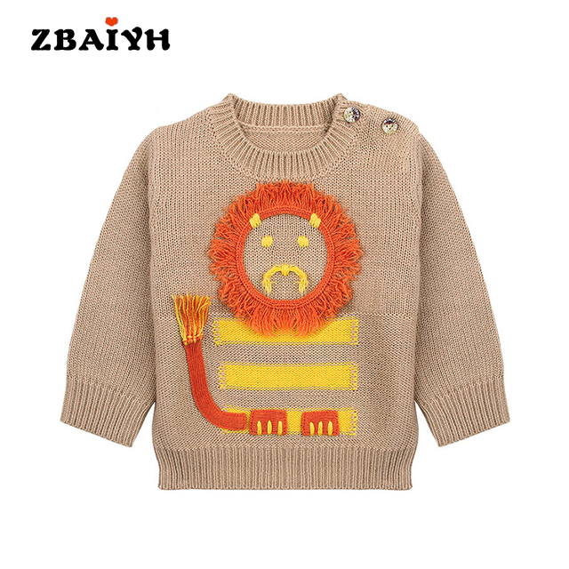 cc453e0d4 Baby Boys Sweaters Kids Fashion Cute Cartoon Lion Pullover Knitted ...