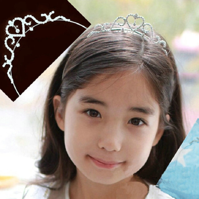 2016 New Cute Heart Princess Crown Tiara Rhinestone Corona Diadem Hairwear Hair Jewelry Lovely Wedding Girls Bridesmaid Headband