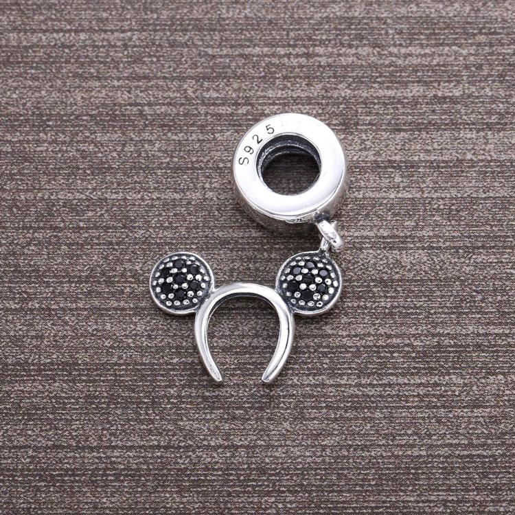 f72e89acb560 Alta calidad 925 negro cz pavimenta diadema mickey colgante Charm ...