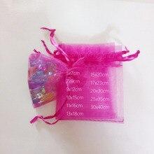1000 pièces Rose rouge cadeau sacs pour bijoux sacs et emballage Organza sac cordon sac mariage/femme stockage vitrines