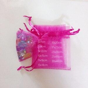 Image 1 - 1000pcs רוז אדום שקיות מתנת תכשיטי שקיות אריזת אורגנזה תיק שרוך תיק חתונה/אישה אחסון תצוגה שקיות