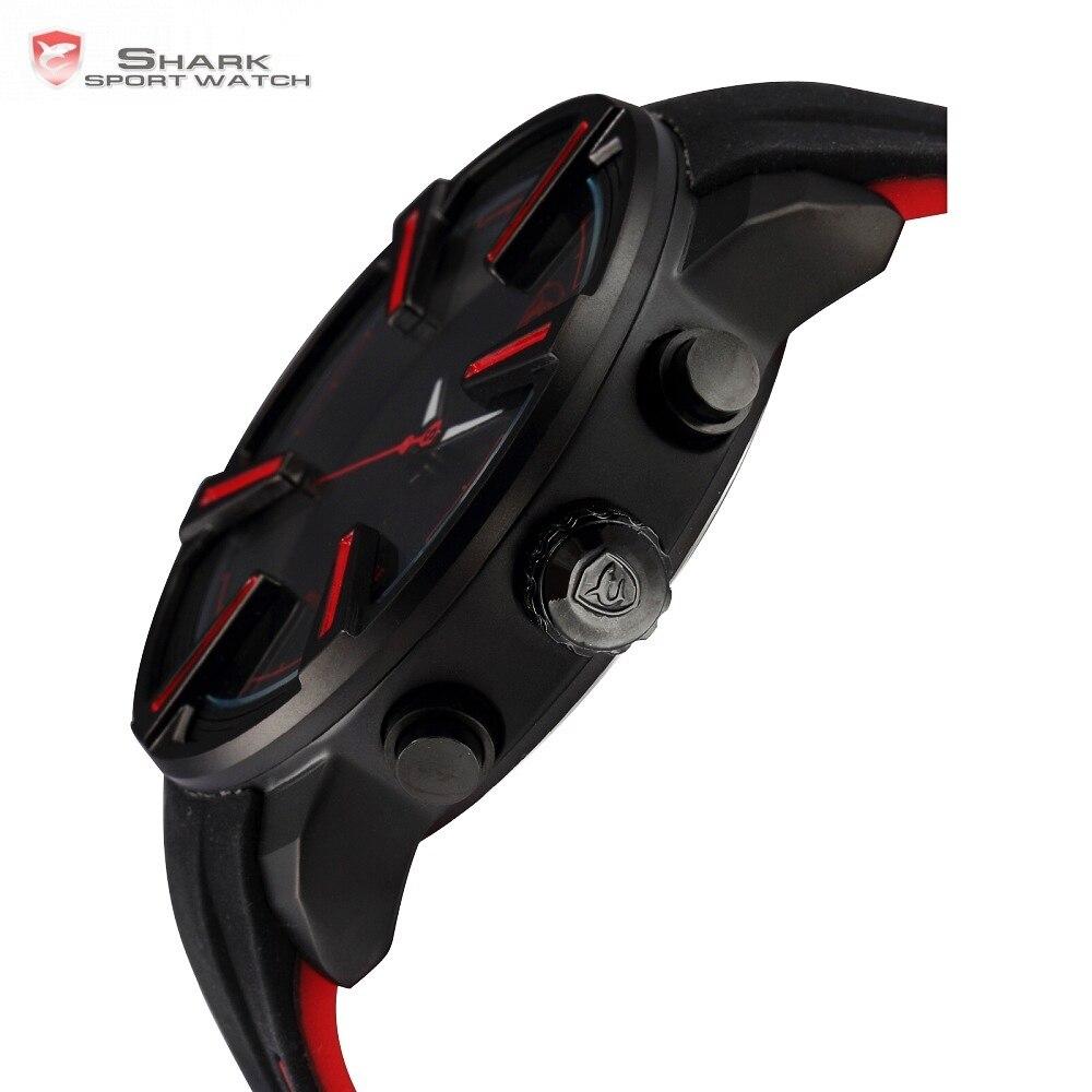 Aiguillat REQUIN montre de sport Chaude Numérique Rouge led Calendrier Alarme Militaire Mens Mode Silicone bracelets-montres Horloge Cadeau/SH384 - 3
