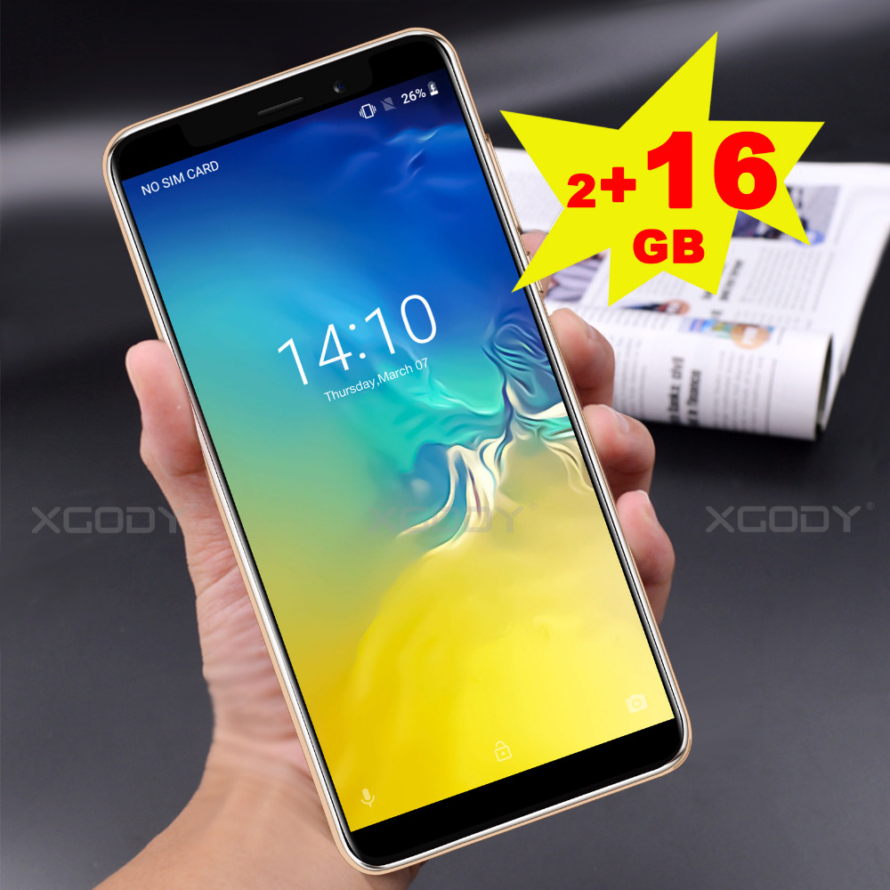 XGODY NEW 3G Smartphone 5.5'' Android 8.1 MT6580 Quad Core 1.3GHz 2GB RAM 16GB ROM Cell Phones 5.0MP 2500mAh Mobile Phone