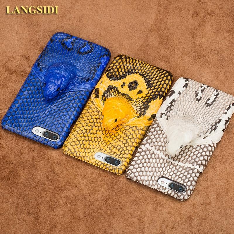 Wangcangli marque coque de téléphone réel tête de serpent couverture arrière coque de téléphone pour iPhone 7 Plus traitement personnalisé manuel complet - 3