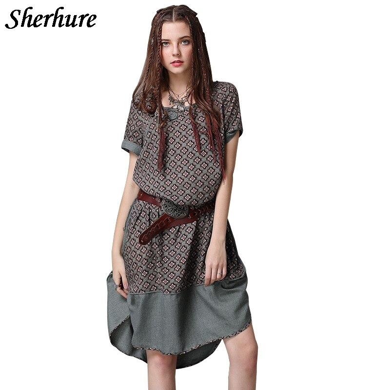 c868012b836 Vintage ligne Robes Femmes Qualité Lâche Manches À Harajuku Imprimer  Courtes Haute Marron A De D été Robe Femme 2018 1xqBUIzB