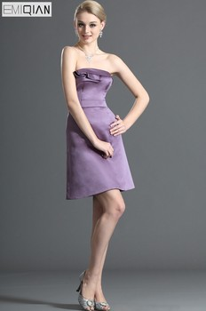Elegant Strapless Mini Lilac Satin Formal Wedding Party Gown Bridesmaid Dress