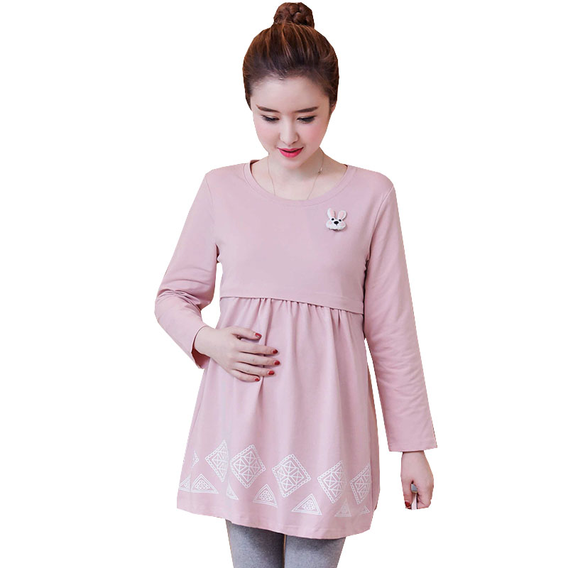 Autumn Breastfeeding Dresses Nursing Maternity Dress Clothes For Pregnant Women Long Sleeve Cotton Pregnancy Dress Winter New