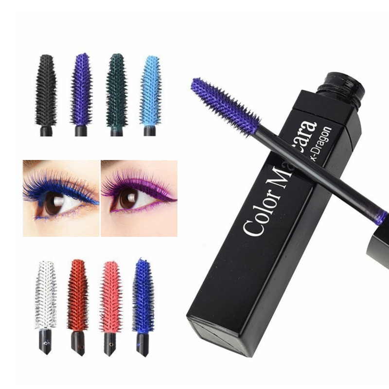 Color Mascara Waterproof Fast Dry Eyelashes Curling Lengthening Makeup Eye Lashes Blue Green Red Purple Black White Ink Mascara