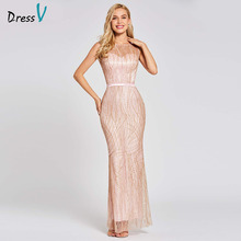 Dressv pembe uzun trompet akşam elbise backless ucuz scoop boyun dantel düğün parti resmi elbise mermaid abiye